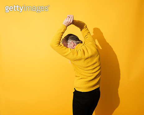 Portrait of mature man dancing and having fun - gettyimageskorea