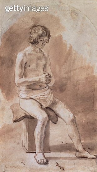 <b>Title</b> : Study of a Nude Youth (pen and brown wash on paper)<br><b>Medium</b> : pen and brown wash on paper<br><b>Location</b> : The Barber Institute of Fine Arts, University of Birmingham<br> - gettyimageskorea
