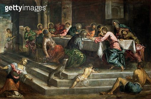 <b>Title</b> : Last Supper (oil on canvas)<br><b>Medium</b> : <br><b>Location</b> : San Stefano, Venice, Italy<br> - gettyimageskorea