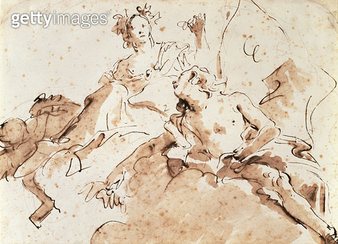 <b>Title</b> : Zephyrus and Flora (pen and brown wash over black chalk on paper)Additional Infostudy for the ceiling fresco of the Sala degli S<br><b>Medium</b> : pen and brown wash over black chalk on paper<br><b>Location</b> : The Barber Institute of Fi - gettyimageskorea