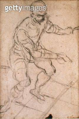 <b>Title</b> : Seated Man seen from Above (black chalk on paper) (recto) (see 160813 for verso)<br><b>Medium</b> : black chalk on paper<br><b>Location</b> : The Barber Institute of Fine Arts, University of Birmingham<br> - gettyimageskorea