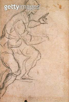 <b>Title</b> : Seated Man seen from Below (black chalk on paper) (verso) (see 160812 for recto)<br><b>Medium</b> : black chalk on paper<br><b>Location</b> : The Barber Institute of Fine Arts, University of Birmingham<br> - gettyimageskorea