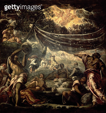 <b>Title</b> : The Fall of Manna (ceiling painting) (oil on panel)Additional InfoLa Recolte de la Manne;<br><b>Medium</b> : <br><b>Location</b> : Scuola Grande di San Rocco, Venice, Italy<br> - gettyimageskorea