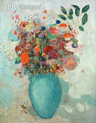 <b>Title</b> : Flowers in a Turquoise Vase, c.1912 (oil on canvas)Additional InfoFleurs dans un Vase Turquoise;<br><b>Medium</b> : oil on canvas<br><b>Location</b> : Private Collection<br> - gettyimageskorea