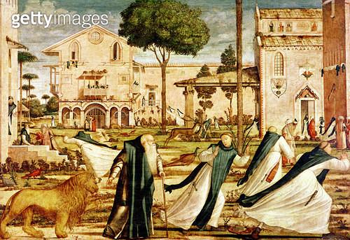 <b>Title</b> : St. Jerome and Lion in the Monastery, 1501-09 (oil on canvas)<br><b>Medium</b> : oil on canvas<br><b>Location</b> : Scuola di San Giorgio degli Schiavoni, Venice, Italy<br> - gettyimageskorea