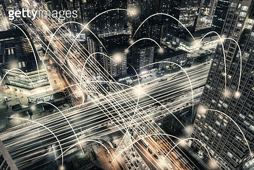 The Network of the Office Building and Road Intersection - gettyimageskorea