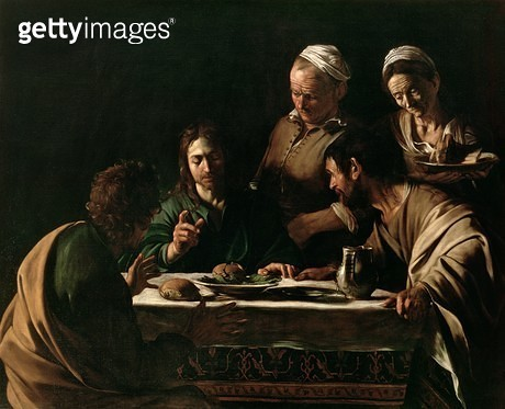 <b>Title</b> : Supper at Emmaus, 1606 (oil on canvas) (see also 169588)<br><b>Medium</b> : <br><b>Location</b> : Pinacoteca di Brera, Milan, Italy<br> - gettyimageskorea