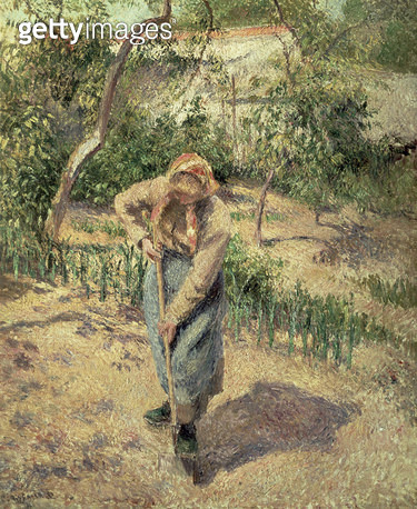 <b>Title</b> : Woman Digging in an Orchard, 1882<br><b>Medium</b> : oil on canvas<br><b>Location</b> : Private Collection<br> - gettyimageskorea