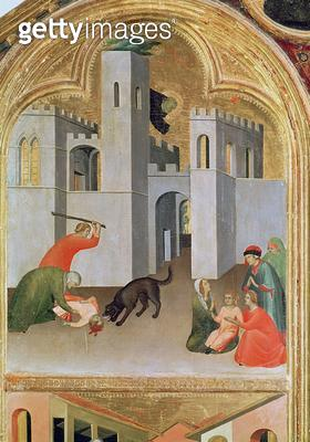 <b>Title</b> : Agostino Novella Rescuing a Child who has been Bitten by a Dog, detail from the Blessed Agostino Novello Altarpiece, c.1328 (tem<br><b>Medium</b> : <br><b>Location</b> : St. Agostino Novello, Siena, Italy<br> - gettyimageskorea