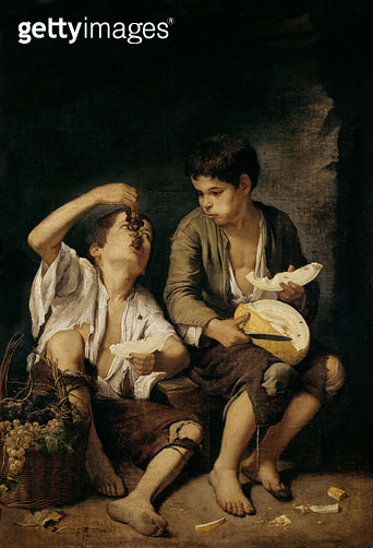<b>Title</b> : Two Children Eating a Melon and Grapes, 1645-46 (oil on canvas)<br><b>Medium</b> : oil on canvas<br><b>Location</b> : Alte Pinakothek, Munich, Germany<br> - gettyimageskorea