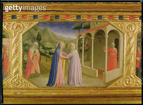 <b>Title</b> : Visitation, from the predella of the Annunciation Alterpiece, c.1430-32 (tempera & gold on panel)<br><b>Medium</b> : tempera and gold on panel<br><b>Location</b> : Prado, Madrid, Spain<br> - gettyimageskorea