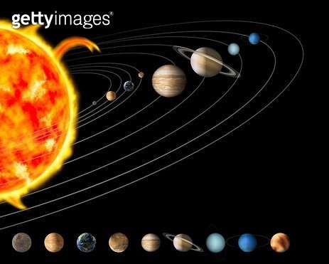 Digital Illustration of the Sun and Nine Planets of Our Solar System - gettyimageskorea