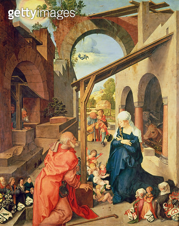 <b>Title</b> : Paumgartner Altarpiece: Central Panel, the Nativity and Members of the Paumgartner Family; Left Hand Wing, St. George; Right Hand Wing, St. Eustace<br><b>Medium</b> : tempera on panel<br><b>Location</b> : Alte Pinakothek, Munich, Germany<br - gettyimageskorea