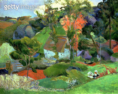 <b>Title</b> : Landscape at Pont Aven, 1888 (oil on canvas)<br><b>Medium</b> : oil on canvas<br><b>Location</b> : Private Collection<br> - gettyimageskorea