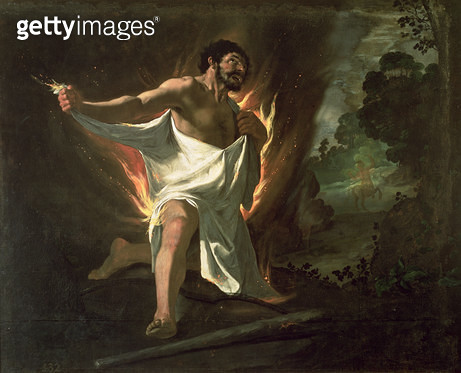 <b>Title</b> : Hercules Tearing the Burning Robe, c.1634 (oil on canvas)<br><b>Medium</b> : oil on canvas<br><b>Location</b> : Prado, Madrid, Spain<br> - gettyimageskorea
