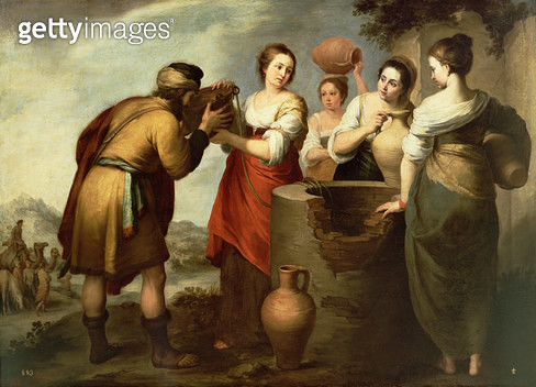<b>Title</b> : Rebecca and Eliezer at the Well, c.1665 (oil on canvas)<br><b>Medium</b> : oil on canvas<br><b>Location</b> : Prado, Madrid, Spain<br> - gettyimageskorea