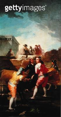 <b>Title</b> : The Amateur Bullfight, 1778-80 (oil on canvas)Additional InfoLa Course de Jeunes Taureaux;<br><b>Medium</b> : oil on canvas<br><b>Location</b> : Prado, Madrid, Spain<br> - gettyimageskorea
