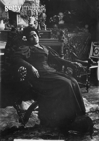 <b>Title</b> : Annah la Javanaise (b.1880) Mistress of Paul Gauguin (1848-1903) Rue de la Grande Chaumiere, Paris, c.1894 (b/w photo)Additional<br><b>Medium</b> : black and white photograph<br><b>Location</b> : Mucha Trust<br> - gettyimageskorea