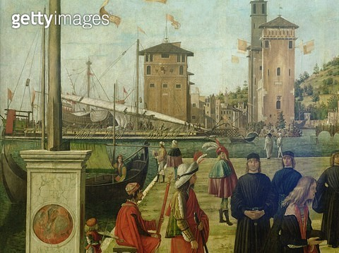 <b>Title</b> : The Return of the Ambassadors, from the St. Ursula Cycle, 1490-94 (detail of 51114)<br><b>Medium</b> : <br><b>Location</b> : <br> - gettyimageskorea