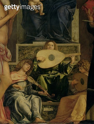 <b>Title</b> : The San Giobbe Altarpiece, detail of angels playing music, c.1487 (oil on panel) (detail of 55433)Additional InfoMadonna and Chi<br><b>Medium</b> : <br><b>Location</b> : Galleria dell' Accademia, Venice, Italy<br> - gettyimageskorea