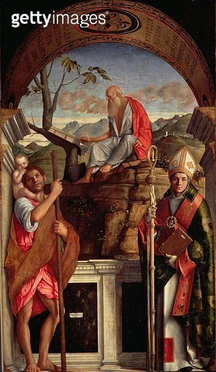 <b>Title</b> : St. Jerome, St. Christopher and St. Augustine, 1513 (oil on canvas)Additional Infopainted when Bellini was an octogenarian; Wild<br><b>Medium</b> : oil on canvas<br><b>Location</b> : San Giovanni Crisostomo, Venice, Italy<br> - gettyimageskorea