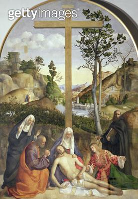 <b>Title</b> : Mourning the Dead Christ at the Foot of the Cross (oil on canvas)Additional Infoformerly attrib. to Rocco Marconi (d.1529); with<br><b>Medium</b> : oil on canvas<br><b>Location</b> : Galleria dell' Accademia, Venice, Italy<br> - gettyimageskorea