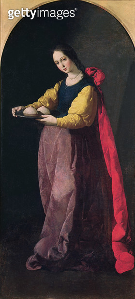 <b>Title</b> : St. Agatha (oil on canvas)<br><b>Medium</b> : oil on canvas<br><b>Location</b> : Musee Fabre, Montpellier, France<br> - gettyimageskorea