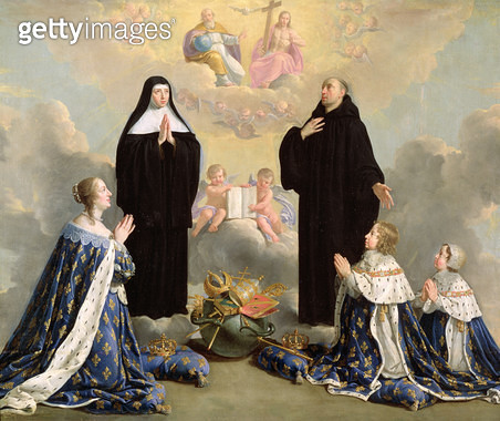 <b>Title</b> : Anne of Austria (1601-66) and her Children at Prayer with St. Benedict and St. Scholastica, 1646 (oil on canvas)Additional InfoA<br><b>Medium</b> : oil on canvas<br><b>Location</b> : Chateau de Versailles, France<br> - gettyimageskorea