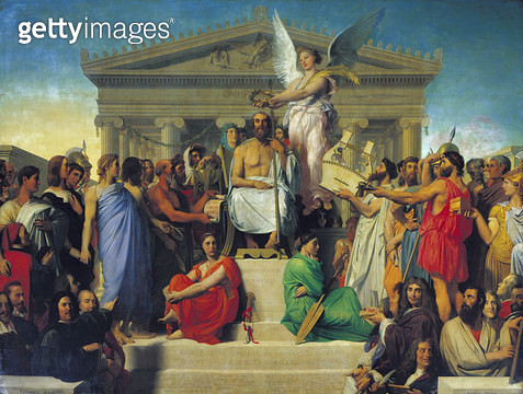 <b>Title</b> : Apotheosis of Homer, 1827 (oil on canvas)<br><b>Medium</b> : oil on canvas<br><b>Location</b> : Louvre, Paris, France<br> - gettyimageskorea