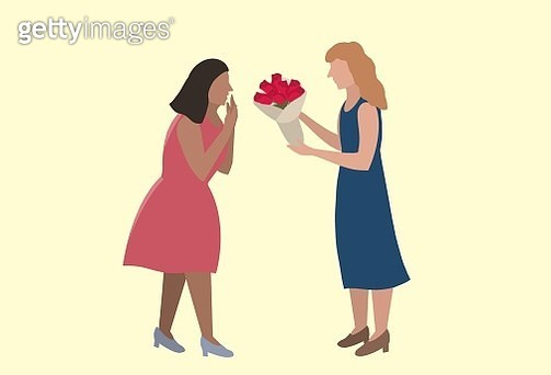 Flat, Valentine's day, LGBTQI couple, lesbian couple, couple, flower, friend ship, shadow, confidence human, human rights, LGBTQI rights - gettyimageskorea
