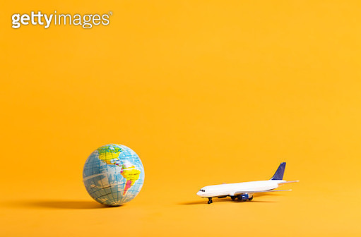 Travel theme with airplane and globe - gettyimageskorea