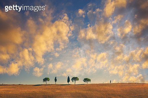 Landscape in Tuscany at sunset - gettyimageskorea
