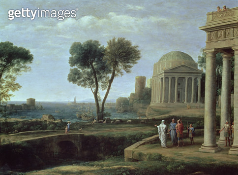 <b>Title</b> : Landscape with Aeneas at Delos, 1672 (oil on canvas)<br><b>Medium</b> : oil on canvas<br><b>Location</b> : National Gallery, London, UK<br> - gettyimageskorea