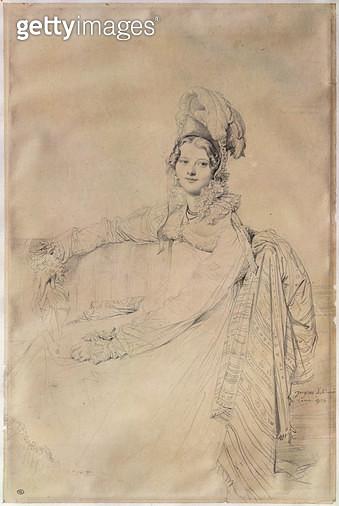 <b>Title</b> : Portrait of Madame Louis-Nicolas-Marie Destouches (1787-1831) 1816 (pencil on paper)<br><b>Medium</b> : pencil on paper<br><b>Location</b> : Louvre (Cabinet de dessins), Paris, France<br> - gettyimageskorea