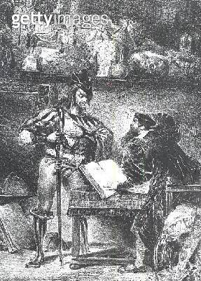 <b>Title</b> : First Meeting between Faust and Mephistopheles: `Why all this Noise?', from Goethe's Faust, 1828, (illustration), (b/w photo of<br><b>Medium</b> : <br><b>Location</b> : Bibliotheque des Beaux-Arts, Paris, France<br> - gettyimageskorea