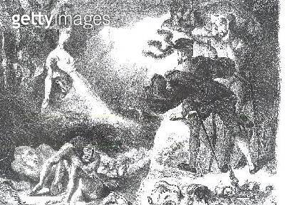<b>Title</b> : Faust and Mephistopheles at the Witches' Sabbath, from Goethe's Faust, 1828, (illustration), (b/w photo of lithograph)<br><b>Medium</b> : <br><b>Location</b> : Bibliotheque des Beaux-Arts, Paris, France<br> - gettyimageskorea
