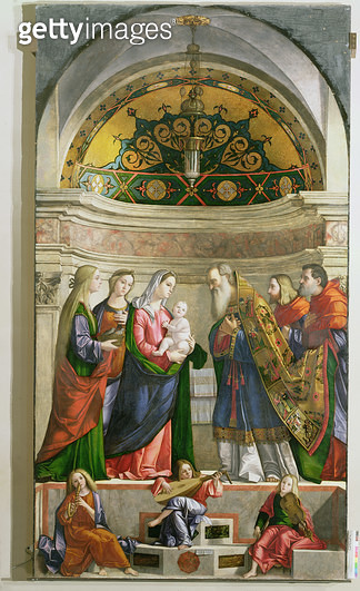 <b>Title</b> : Presentation in the Temple, 1510 (oil on panel)<br><b>Medium</b> : oil on panel<br><b>Location</b> : Galleria dell' Accademia, Venice, Italy<br> - gettyimageskorea