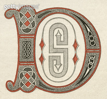 PSALTER: CAPITAL D. /nCapital letter 'D' from the Psalter of Ludwig the German, c860. - gettyimageskorea