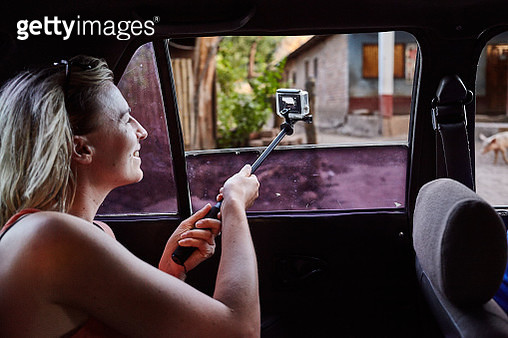 Lone Female Traveller GoPro Filming From Taxi Car - gettyimageskorea