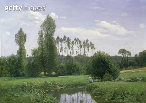 <b>Title</b> : View at Rouelles, 1858Additional Infoearliest dated painting, signed Oscar Monet;<br><b>Medium</b> : oil on canvas<br><b>Location</b> : Noortman, Maastricht, Netherlands<br> - gettyimageskorea