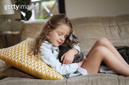 A little girl holding her cat at home - gettyimageskorea
