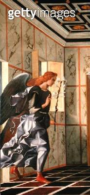 <b>Title</b> : The Archangel Gabriel, from The Annunciation diptych (oil on canvas) (post-1998 restoration) (see 47854, 161535 and 161536)<br><b>Medium</b> : oil on canvas<br><b>Location</b> : Galleria dell' Accademia, Venice, Italy<br> - gettyimageskorea