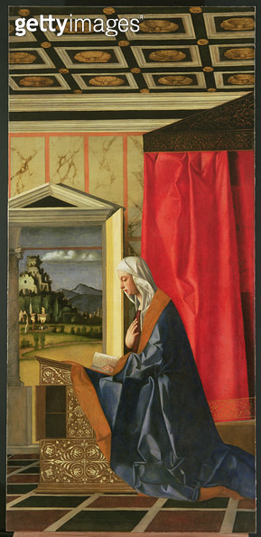 <b>Title</b> : Virgin Mary, from The Annunciation diptych (oil on canvas) (post-1998 restoration) (see 47854, 161534 and 161536)<br><b>Medium</b> : oil on canvas<br><b>Location</b> : Galleria dell' Accademia, Venice, Italy<br> - gettyimageskorea