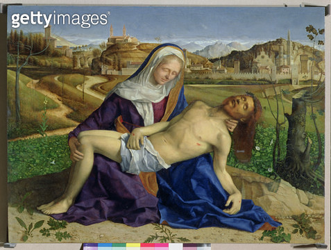 <b>Title</b> : The Pieta, c.1505 (oil on panel) (post 1996 restoration)Additional InfoCathedral and Tower of Vicenza; bell tower of Sant'Apolli<br><b>Medium</b> : oil on panel<br><b>Location</b> : Galleria dell' Accademia, Venice, Italy<br> - gettyimageskorea