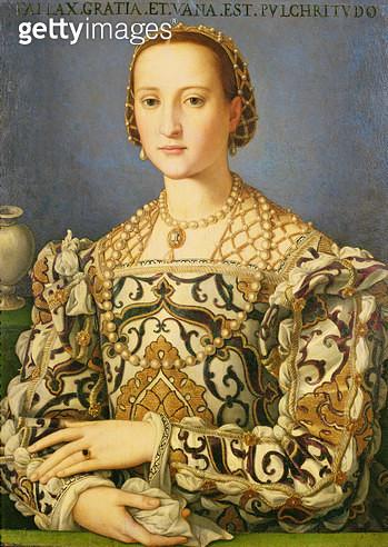 <b>Title</b> : Eleonora di Toledo, c.1562-72 (oil on poplar panel)Additional InfoEleonora di Toledo (1522-62) wife of Cosimo de Medici; Favour<br><b>Medium</b> : oil on poplar panel<br><b>Location</b> : Wallace Collection, London, UK<br> - gettyimageskorea