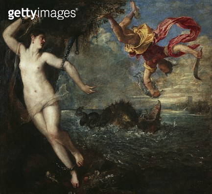 <b>Title</b> : Perseus and Andromeda, 1554-56 (oil on canvas)Additional Infofrom Ovid's Metamorphoses;<br><b>Medium</b> : oil on canvas<br><b>Location</b> : Wallace Collection, London, UK<br> - gettyimageskorea