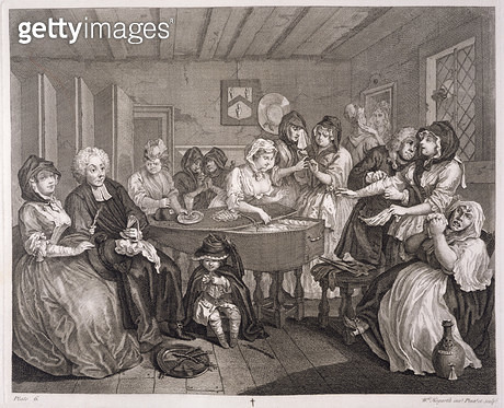 <b>Title</b> : A Harlot's Progress, plate VI, from 'The Original and Genuine Works of William Hogarth', published in London, 1820-22 (engraving<br><b>Medium</b> : engraving<br><b>Location</b> : Yale Center for British Art, Paul Mellon Collection, USA<br> - gettyimageskorea