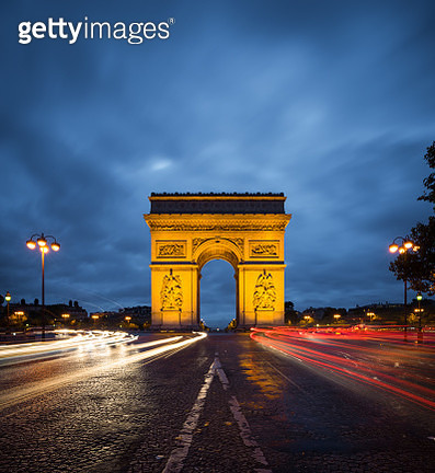 Arc de Triomphe monument with light trail of cars in Paris during night , France - gettyimageskorea