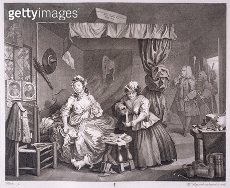 <b>Title</b> : A Harlot's Progress, plate III, from 'The Original and Genuine Works of William Hogarth', published in London, 1820-22 (engravin<br><b>Medium</b> : engraving<br><b>Location</b> : Yale Center for British Art, Paul Mellon Collection, USA<br> - gettyimageskorea