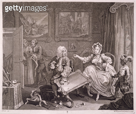 <b>Title</b> : A Harlot's Progress, plate II, from 'The Original and Genuine Works of William Hogarth', published in London, 1820-22 (engraving<br><b>Medium</b> : engraving<br><b>Location</b> : Yale Center for British Art, Paul Mellon Collection, USA<br> - gettyimageskorea